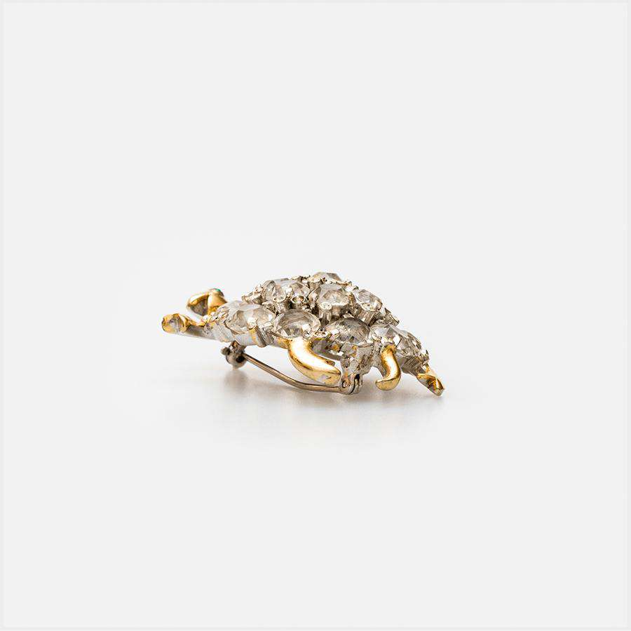 1950s Gilt and Clear Paste Tortoise Brooch