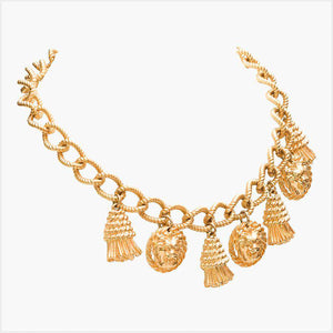 1980s Unsigned Gilt Charm Necklace in the Manner of Versace