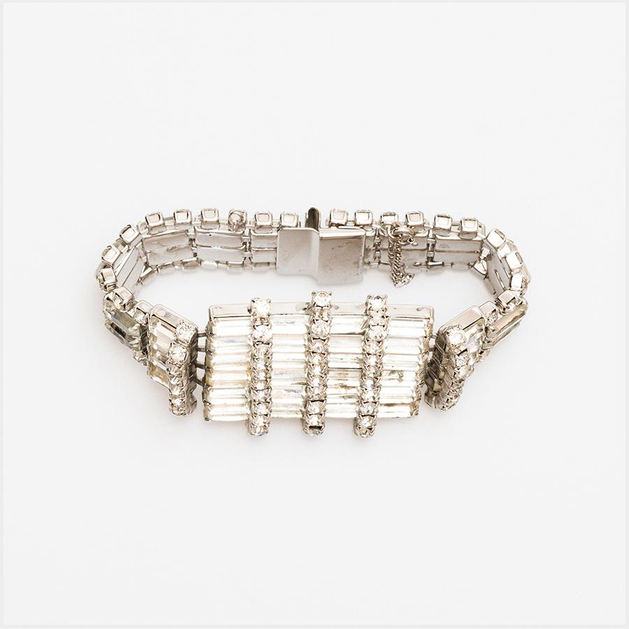 1950s Rhodium Plated Rhinestone Cocktail Bracelet