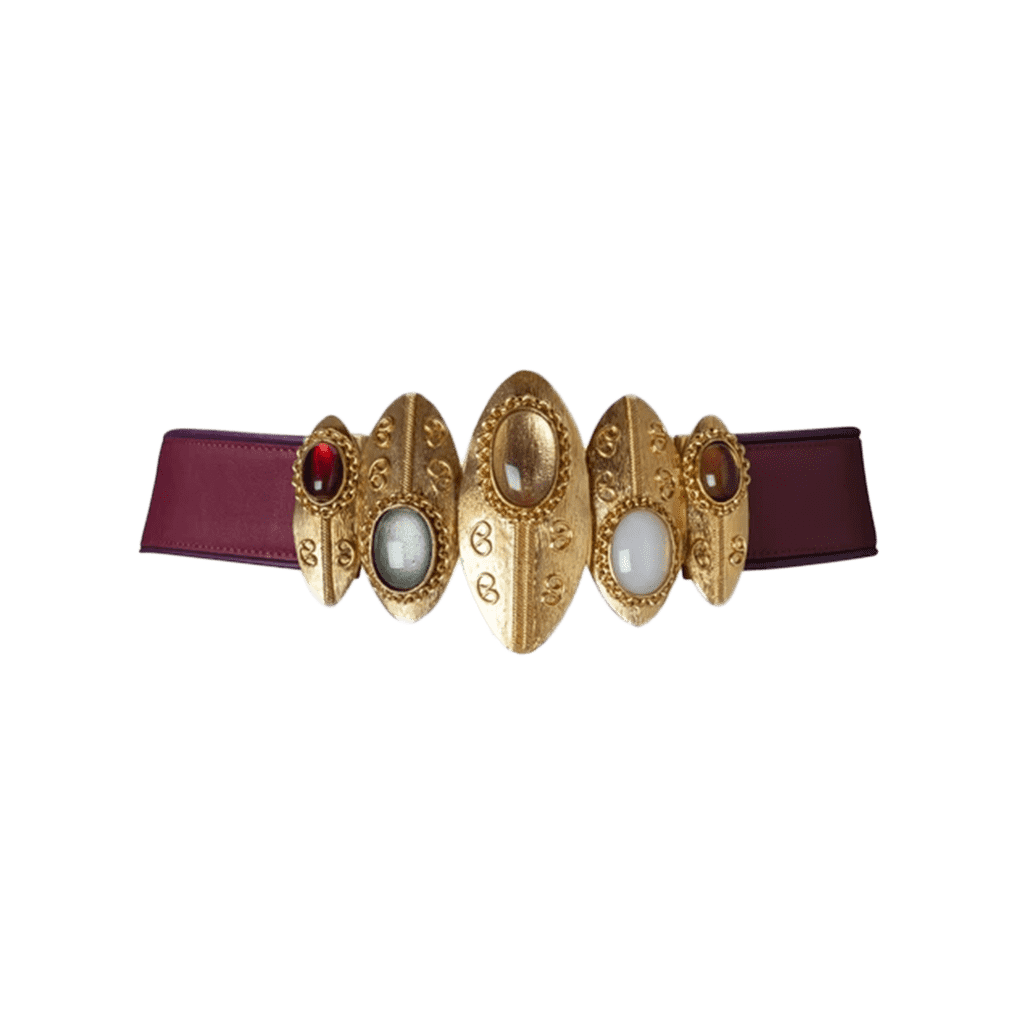 Sonia Petroff Burgundy Shield Statement Belt