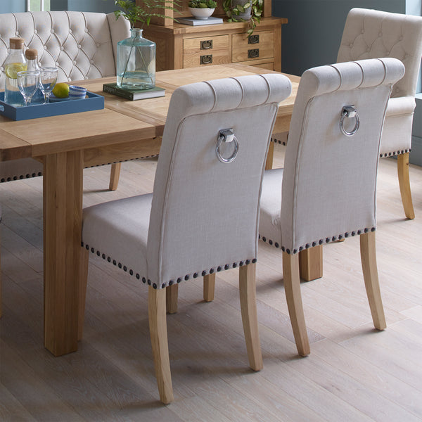 Beige Dining Chair with Studded Detail & Knocker