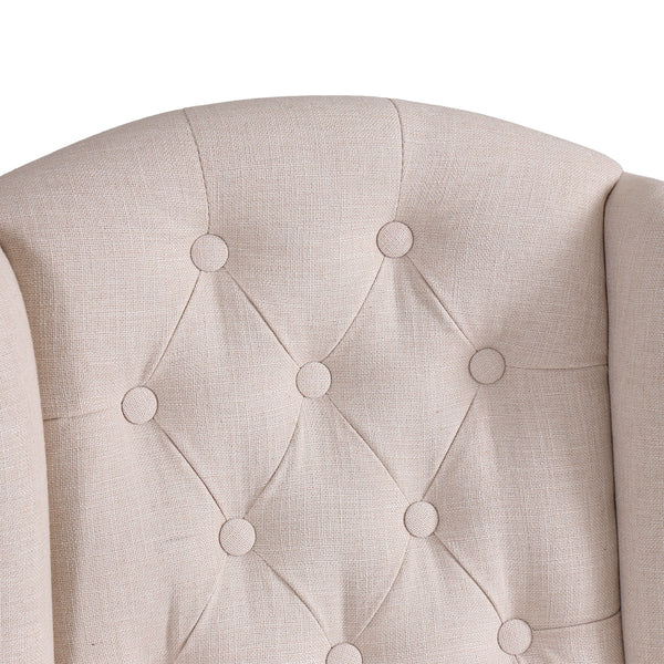 Beige Bar Stool with Studded Detail