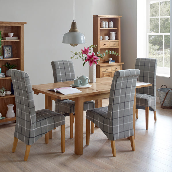 Dining Set - 1 Table with 4 Grey Tartan Dining Chairs