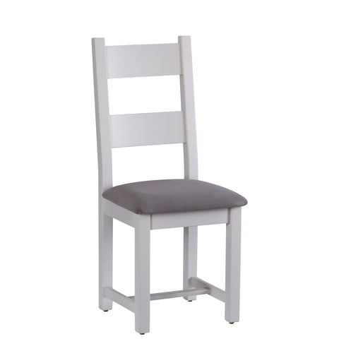 Horizontal Slats Dining Chair with Plush Slate Fabric Seat