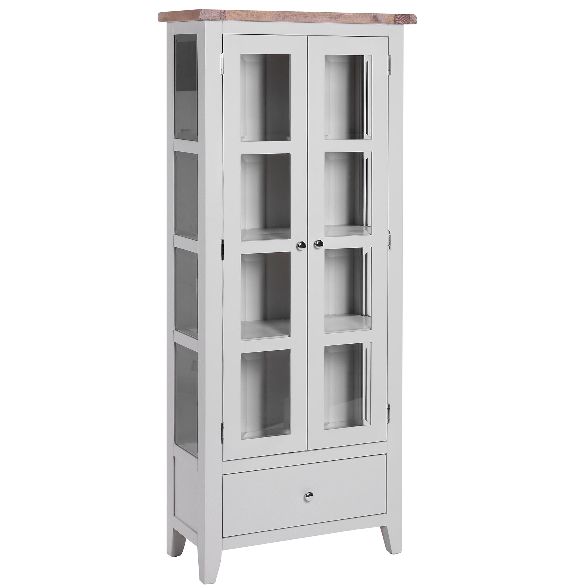 Light grey painted glazed display cabinet with 2 doors, 1 drawer and silver handles