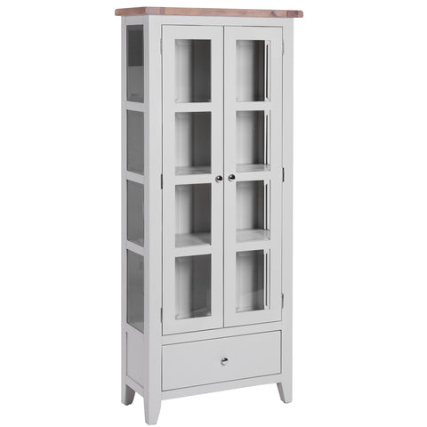 1 Drawer 2 Door Glazed Display Cabinet - Chalked Oak
