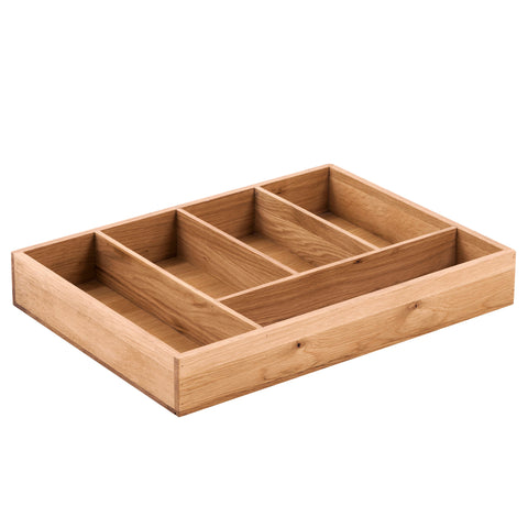 KIC005-K - Solid Oak Cutlery Tray 5 Compartments