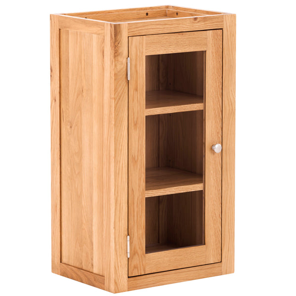 KIC012-L - Oak Small Glazed Wall Cabinet (Hinges on LHS)