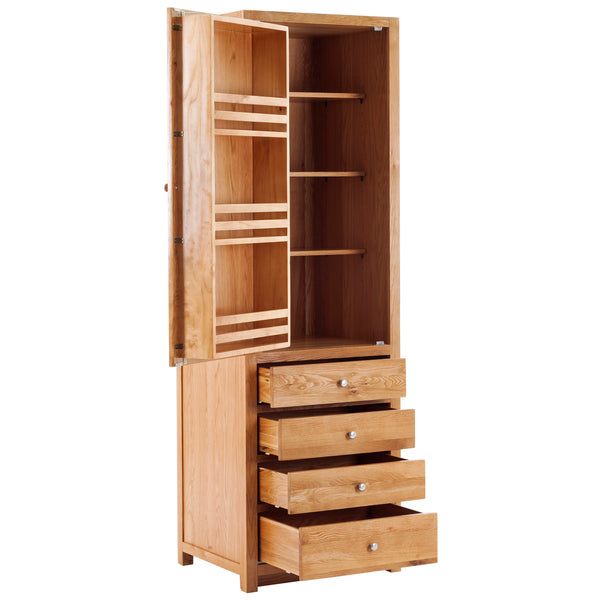 KIC014-L - Oak Full Height Larder with 4 Drawers (Hinges on the LHS)