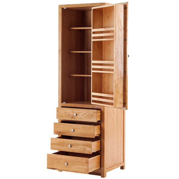 KIC014-R - Oak Full Height Larder with 4 Drawers (Hinges on the RHS)