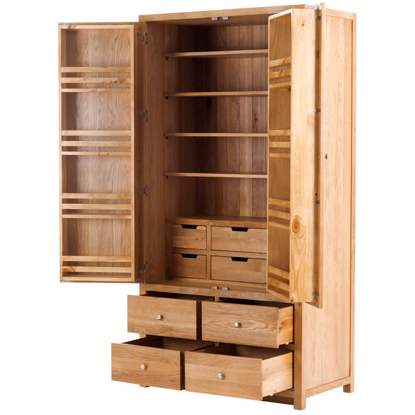 KIC015 - Oak Full Height Larder Extra Large with 4 Drawers