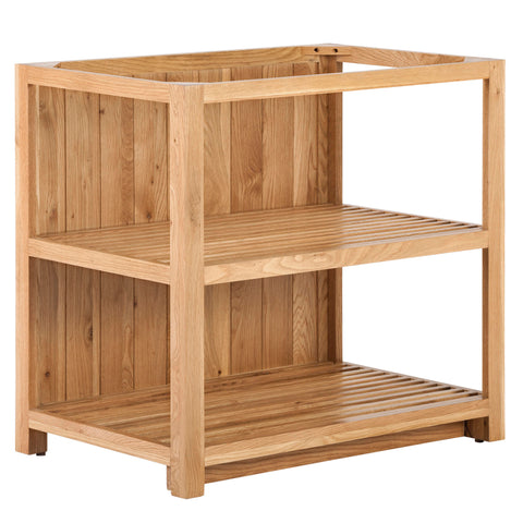 KIC023 - Large Open Slatted Oak Shelf Cabinet with Back Panel