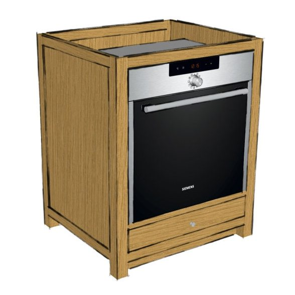 KIC021 - Oak Single Oven Base Cabinet