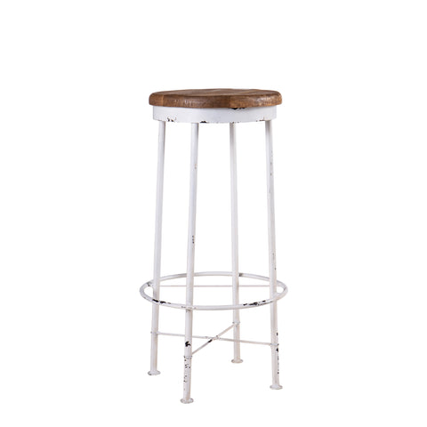 Metal white distressed bar stool with wooden seat