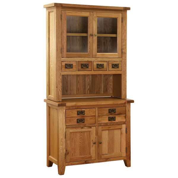 Oak buffet and hutchwith 6 drawers and 4 doors (2 glazed) with brass handles