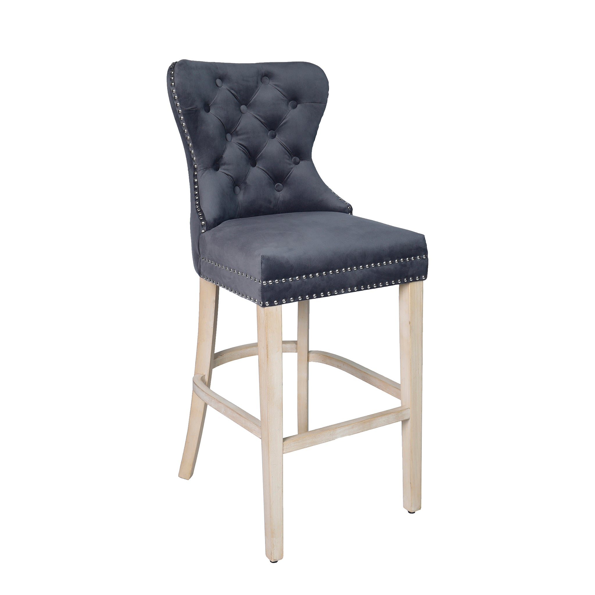 Grey Velvet Bar Stool with Studded Detail