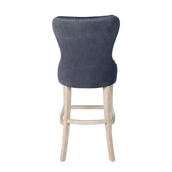 Back view image of a grey fabric bar stool with studded detail and oak legs