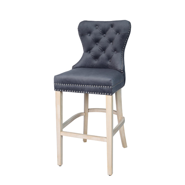Front view image of a grey fabric bar stool with studded detail and oak legs