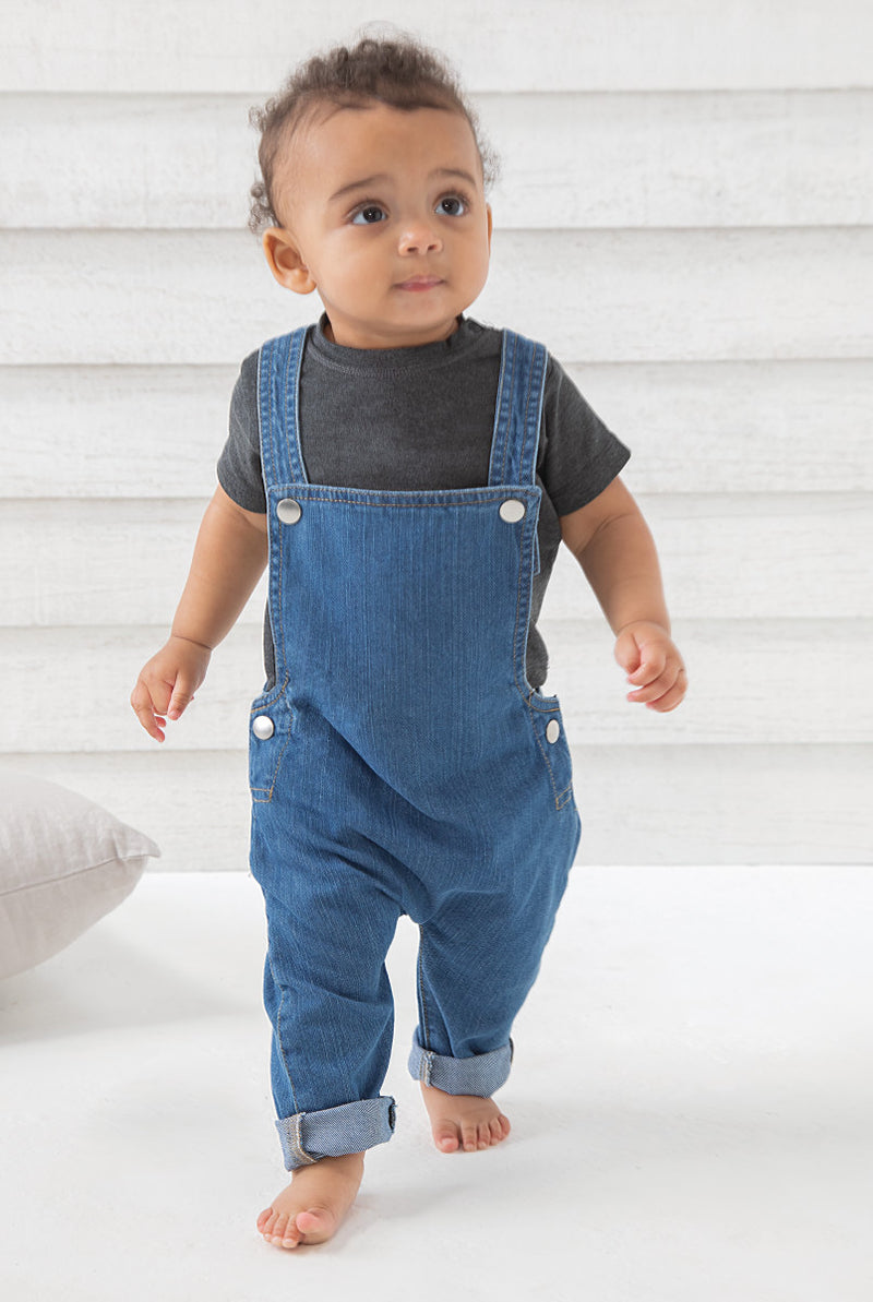 Personalised Organic Baby Rocks Denim Dungarees