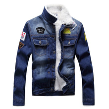 Load image into Gallery viewer, Stamped denim jacket coat oversized denim
