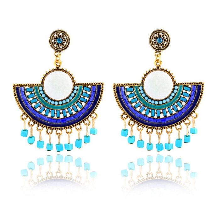 Fan-shaped tassel rice bead earrings