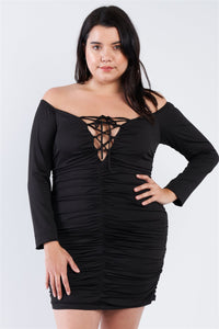 Plus Size Off The Shoulder Lace Up Ruched Mini Dress