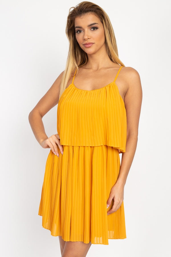 Accordion Pleated Mini Dress