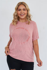 "Plus Size ""every Mother Counts"" Graphic Soft Mauve Loose Fit Top"