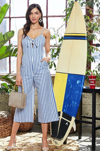 Adjustable Shoulder Strap Side Pocket Back Zipper Front Tie Stripe Print Jumpsuit