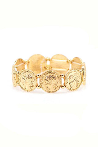 Multi Metal Coin Stretch Bracelet