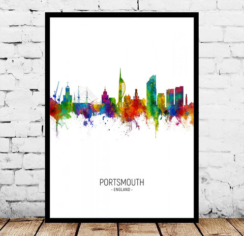 Portsmouth Sheffield Shrewsbury Sunderland Winchester Worcester York England City Watercolor Poster