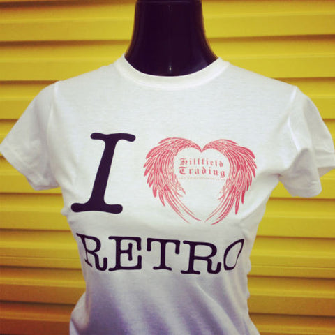 Hillfield Trading I Love Retro Ladies Fitted T Shirt