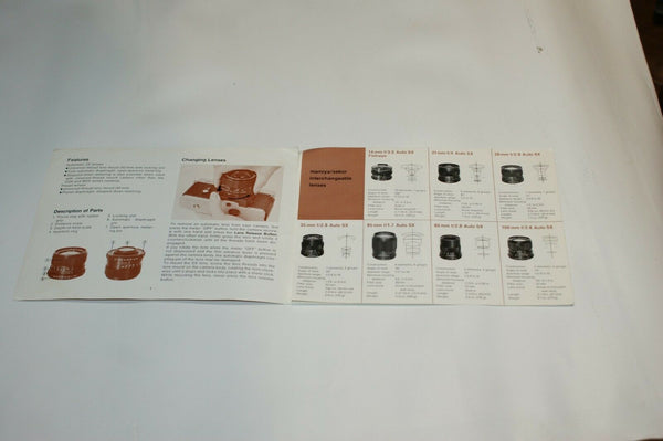 Mamiya Sekor Interchangeable Lens Instruction Manual Guide Spec