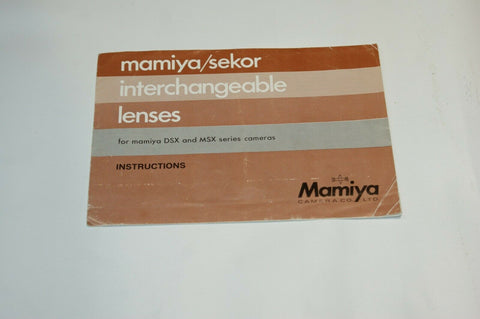 Mamiya Sekor Interchangeable Lenes Instruction Manual Guide Spec