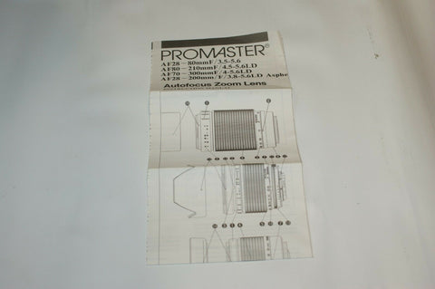 Promaster Autofocus Zoom Lens Instruction Manual Guide Spec