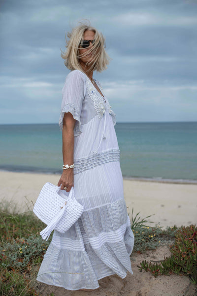 White and blue kaftan dress