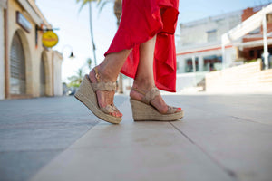 Sandals rose gold wedge