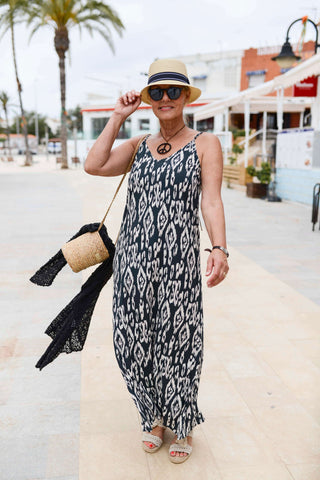 Ethnic black and cream strap dress