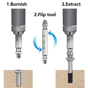 Flip bit and reverse your drill.