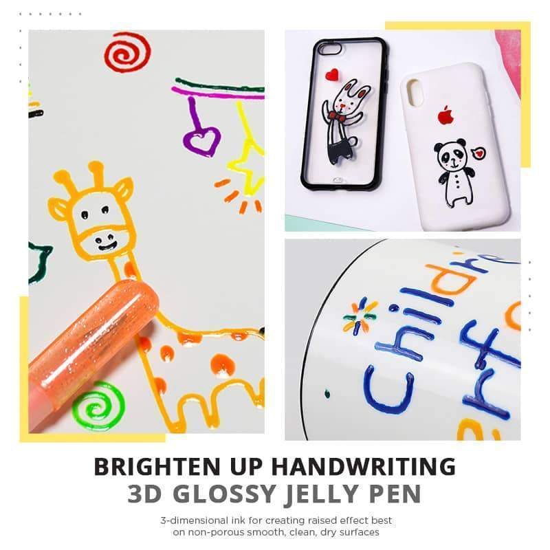 3D Glossy Jelly Ink Pen (12Pcs /pack)