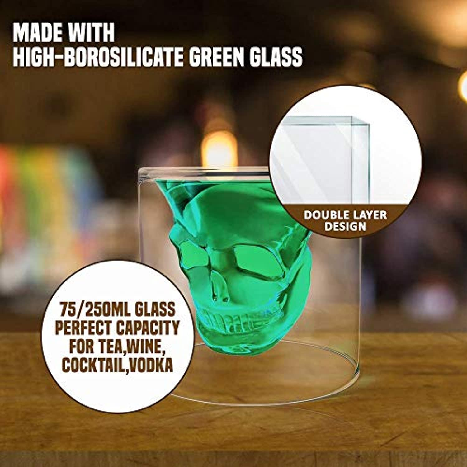 Eco-Friendly Crystal Whiskey Glass for Halloween Party,Bachelors Party and Other Themed Parties|Double Layer Design Skull Whiskey Glass | 250ml Glass Mug Perfect Capacity for Tea,Wine,Cocktail Vodka