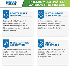 VEVA Precut for HPA300 Premium Carbon Activated Pre Filters 4 Pack Compatible with HW Air Purifier. Precision Fit for Easy Installation Advanced Filters