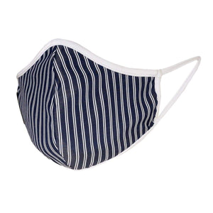 Navy Stripe Face Mask (Linen)