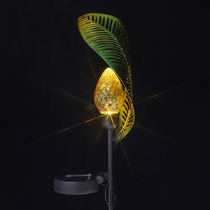 Solar Leaf Crackle Garden Decor Light