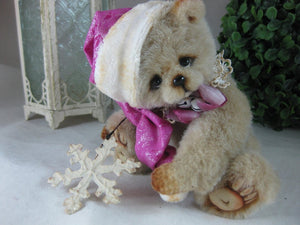 "SOLD Nora 5.5"" Artist Miniature Bear Doll Christmas Hat by Vera J.Bears"