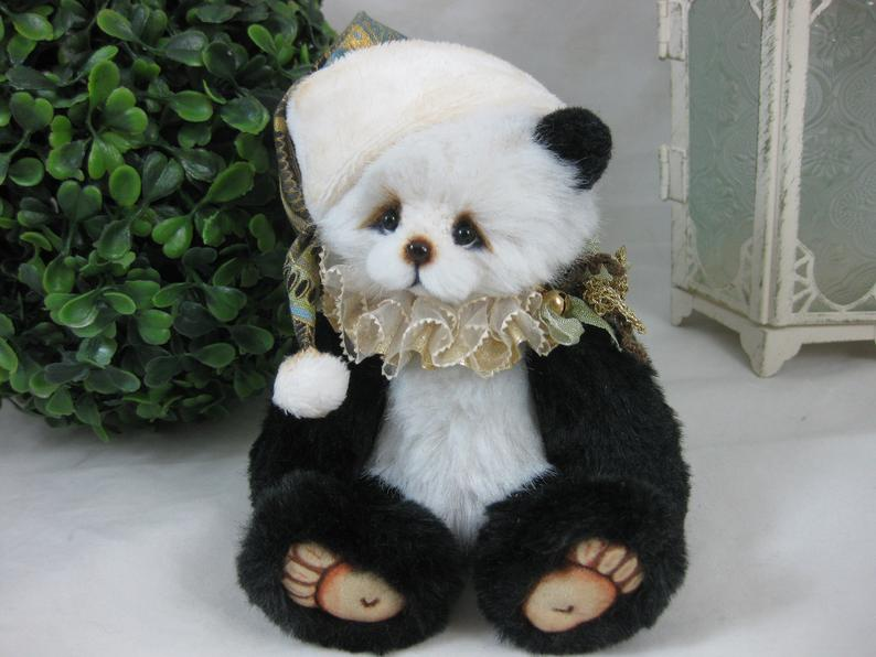 "SOLD 5.5"" Miniature Artist Bear Panda Joy Christmas Handmade by Vera J.Bears"
