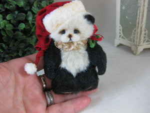 "SOLD HOLLY  3.5"" Miniature  Artist Bear Panda Christmas Hat by Vera J.Bears"