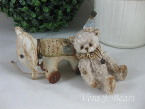 "SOLD  Pio- 3.5"" Miniature Artist Bear by Vera J.Bears"