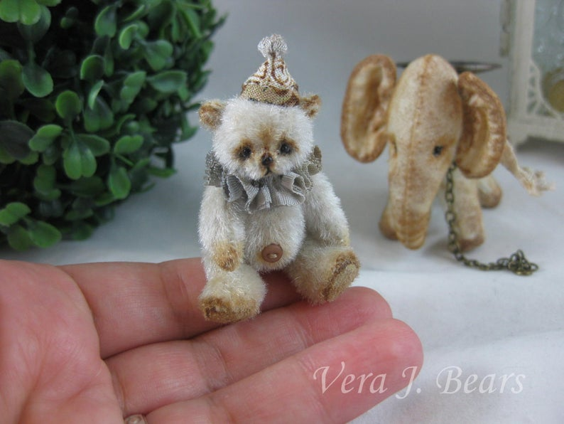 "SOLD 1.34"" Miniature Artist Bear with with  Elephant friend Handmade by Vera J.Bears"
