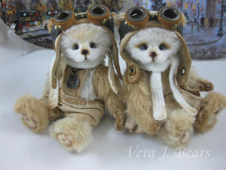 "SOLD 5.5"" Artist Alpaca ""Little Aviators Collection"" Bear Wiley Handmade by Vera J. Bears"